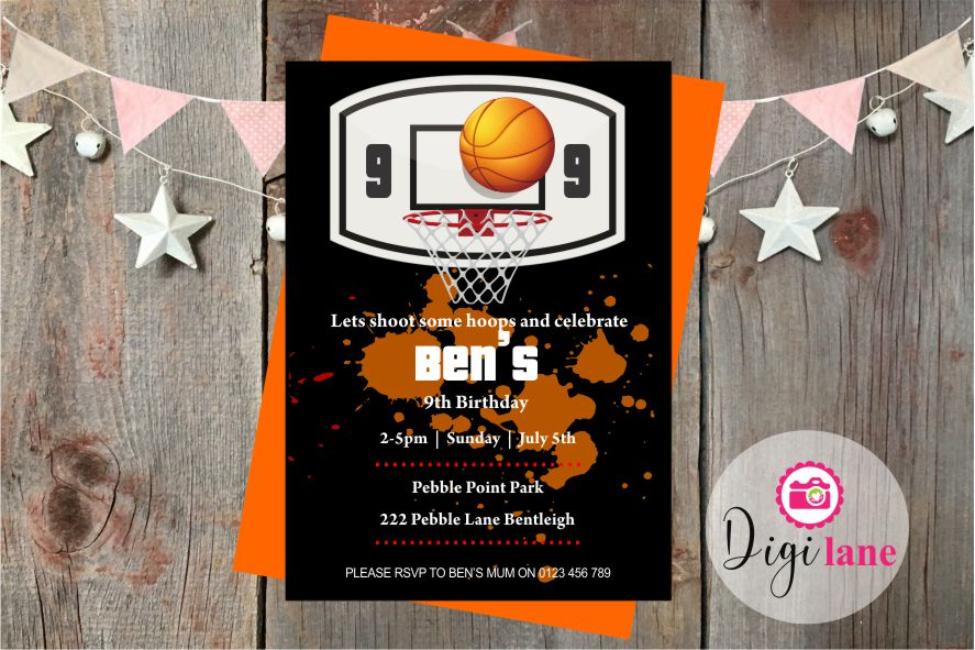 'Shootn Hoops'  |  Birthday Party Invitation