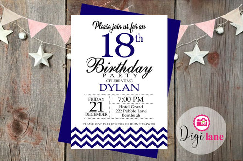 'Mr Chevron'  |  Birthday Party Invitation