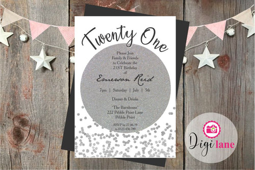 'Silver Linings'  |  Birthday Party Invitation