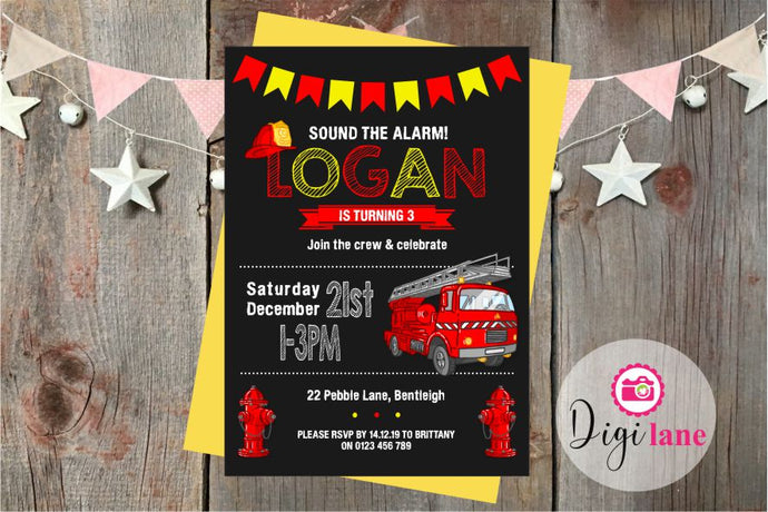 'Mini Fireman'  |  Birthday Party Invitation