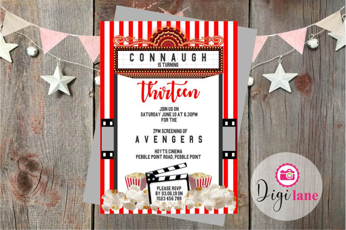 'Movie Night'  |  Birthday Party Invitation