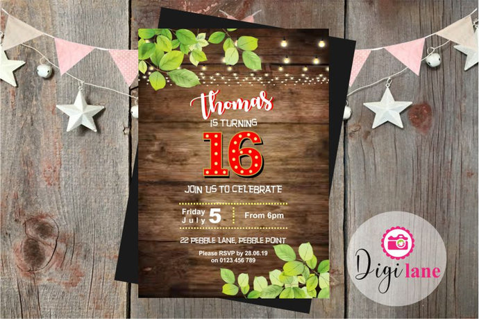 'Rustic Teen'  |  Birthday Party Invitation