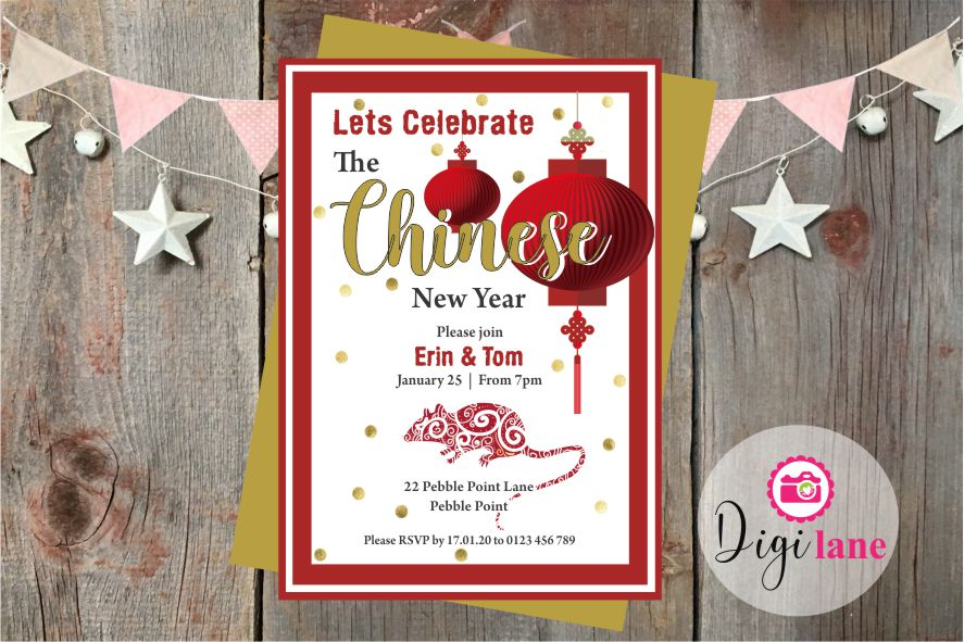 'Year of the Rat'  |  Chinese New Year Party Invitations