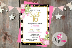 'Sweet 16'  |  Birthday Party Invitation
