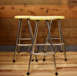 Reupholstered Chrome Stools