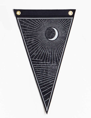 Waxing Moon Flag - Black