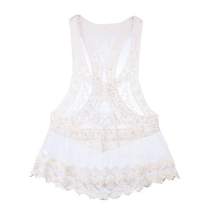 Sheer Lace Tunic Swimsuit Cover-up