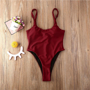 Scoop Neck Solid One Piece Swimsuit