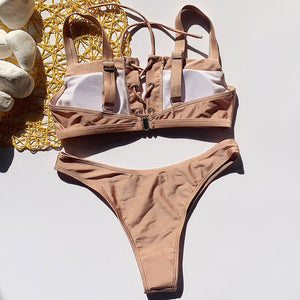 Nude Thick Strapped Lace-Up Bikini