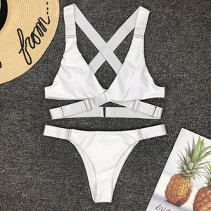 Criss-Cross Wrap Buckle-Strap Adjustable Bikini