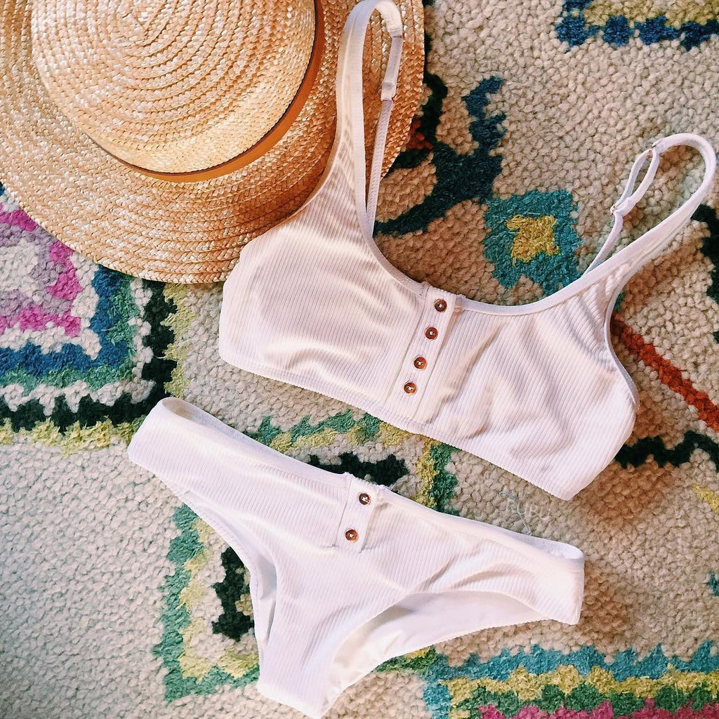 Button-up Knit Bikini Set