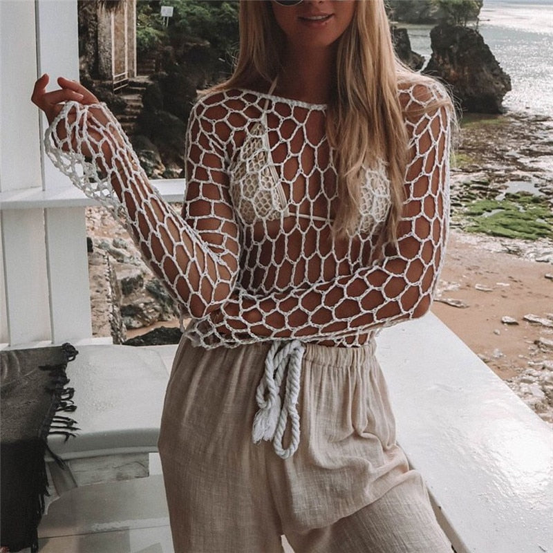 Crochet Fishnet Long Sleeve Swimsuit Cover-up