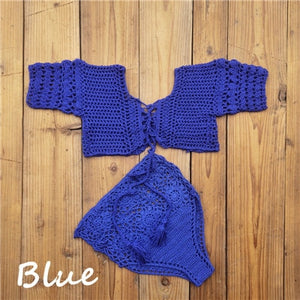 Crochet High-Waist Knit Lace-Up Short Sleeve Bikini Set (hand made)