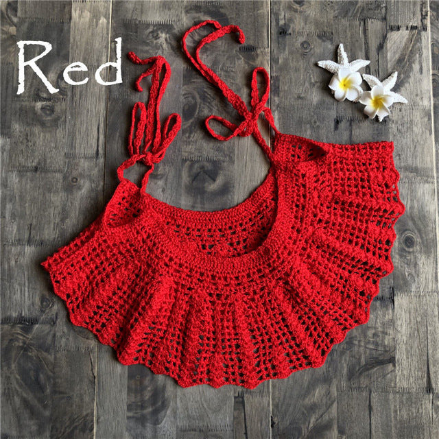 Tie-Strap Crochet Knit Flounce Cover-up Top ( Hand made)