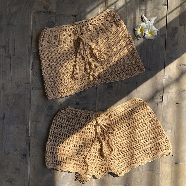 Crochet Knit Beach Swimsuit Cover-up Set (Hand made)