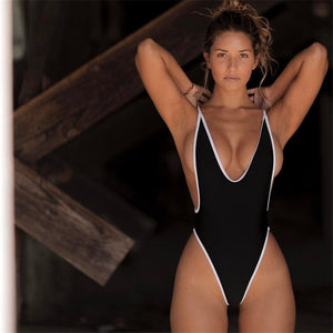 Solid Backless V-neck One Piece Swimsuit