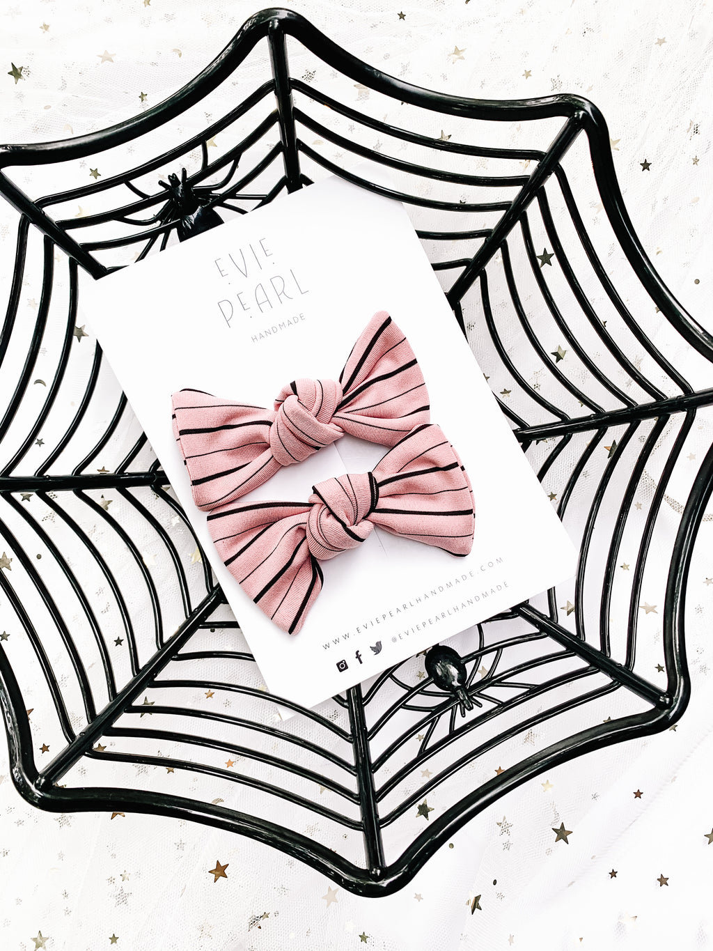 Pink Stripe Knot Bow Pigtail Set