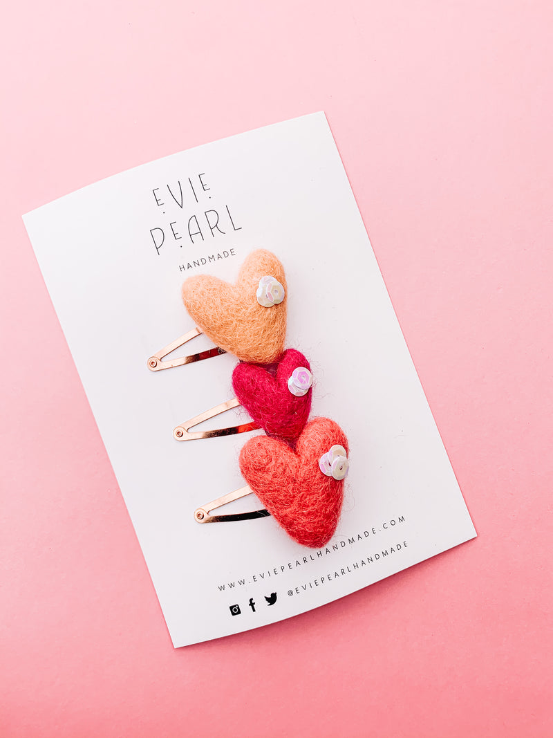 Valentine Trio Heart Snap Clip Set