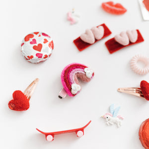 Heart Pigtail Snap Clip Set