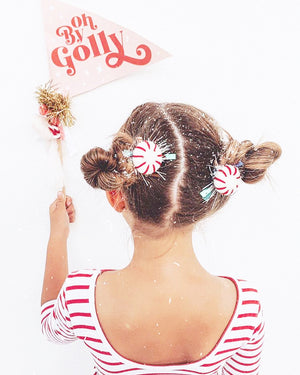 Peppermint Pigtail Clips