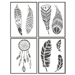 4 Pack Premium Quality Reusable Stencils(Buy 2 Free Shipping)