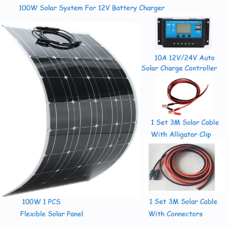 Solar Panel Kit 100w 200w 18V 12V 24V Light weight Glass Temper Solar Panel Mono crystalline cells solar battery charger - Eco Friendly Ecommerce Store