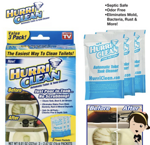 HURRICLEAN AUTOMATIC TOILET AND TANK CLEANER ( 3 PACKETS )