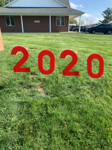 Red 2020 Lawn Letters Graduation Year Numbers Yard Sign Custom School Colors Available-Stakes Included