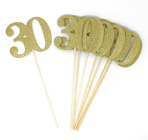 Gold Number 30 Double Sided Centerpiece Sticks Set of 8 Real Glitter