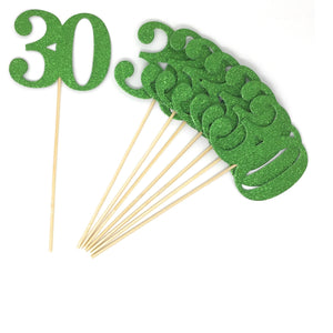 Green Number 30 Double Sided Centerpiece Sticks Set of 8 Real Glitter