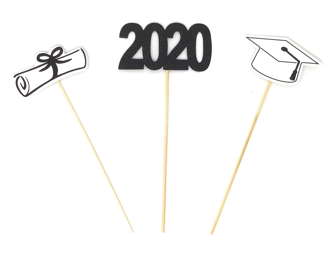 Black Foil Double Sided Graduation 2020 Centerpiece Sticks Set of 3 Graduation Hat Diploma Year Floral Picks Glitter and Foil