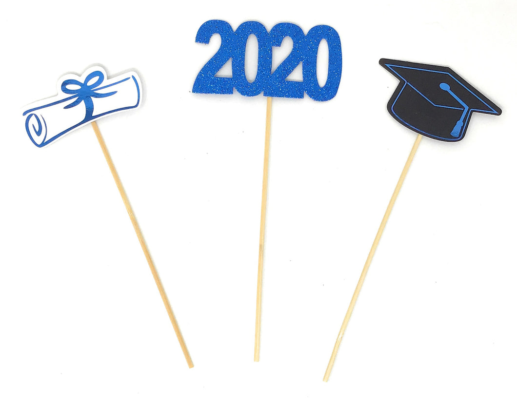 Blue Foil Double Sided Graduation 2020 Centerpiece Sticks Set of 3 Graduation Hat Diploma Year Floral Picks Glitter and Foil