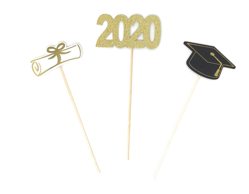 Gold Foil Double Sided Graduation 2020 Centerpiece Sticks Set of 3 Graduation Hat Diploma Year Floral Picks Glitter and Foil
