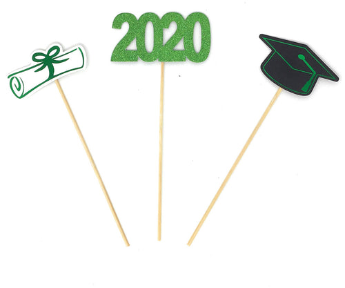Green Foil Double Sided Graduation 2020 Centerpiece Sticks Set of 3 Graduation Hat Diploma Year Floral Picks Glitter and Foil