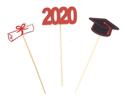 Red Foil Double Sided Graduation 2020 Centerpiece Sticks Set of 3 Graduation Hat Diploma Year Floral Picks Glitter and Foil