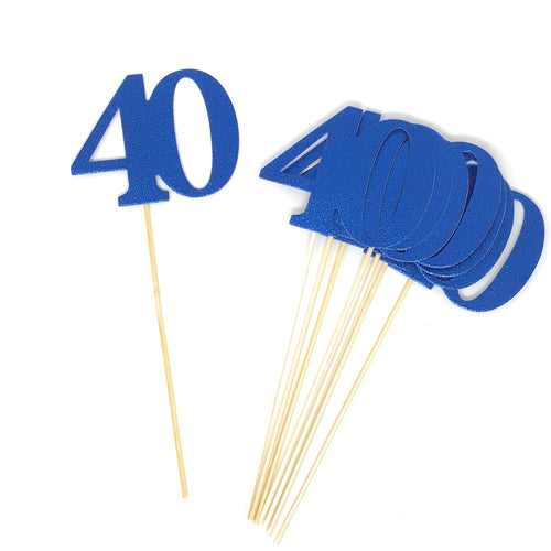 Blue Number 40 Double Sided Centerpiece Sticks Set of 8 Real Glitter