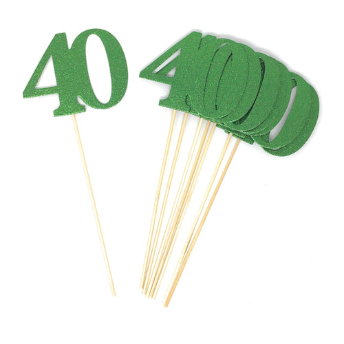 Green Number 40 Double Sided Centerpiece Sticks Set of 8 Real Glitter