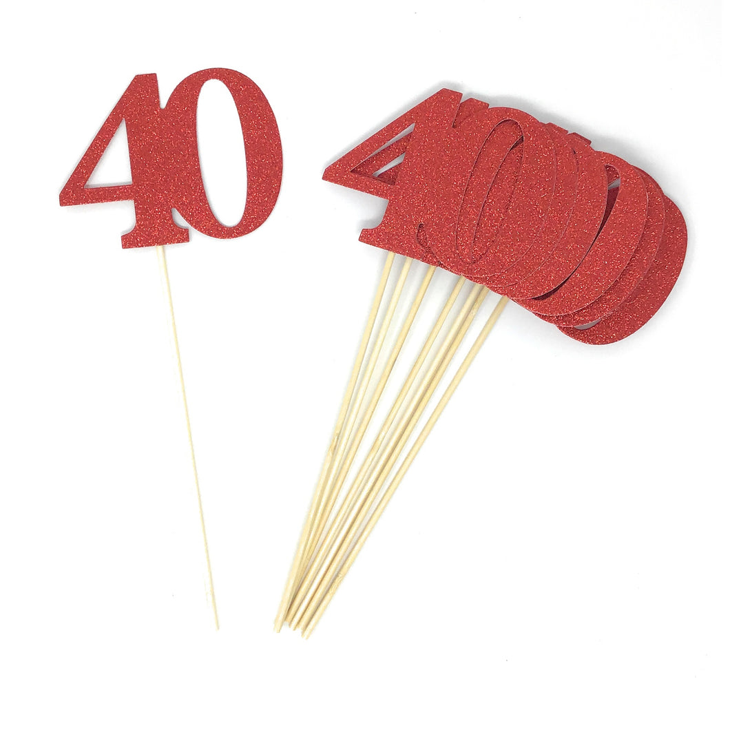 Red Number 40 Double Sided Centerpiece Sticks Set of 8 Real Glitter