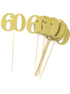 Gold Number 60 Double Sided Centerpiece Sticks Set of 8 Real Glitter