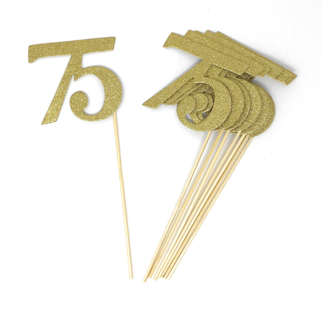 Gold Number 75 Double Sided Centerpiece Sticks Set of 8 Real Glitter