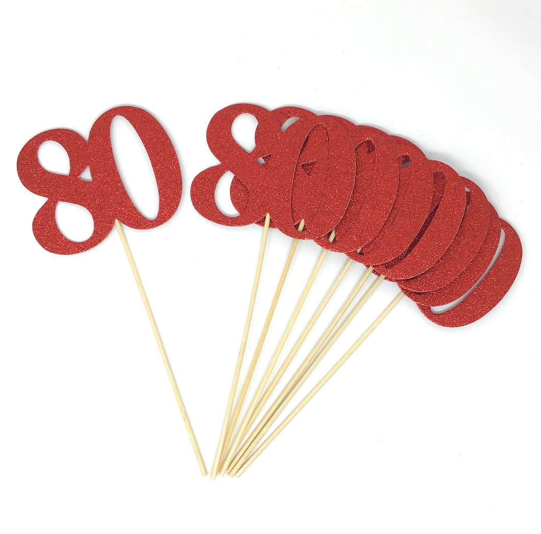 Red Number 80 Double Sided Centerpiece Sticks Set of 8 Real Glitter