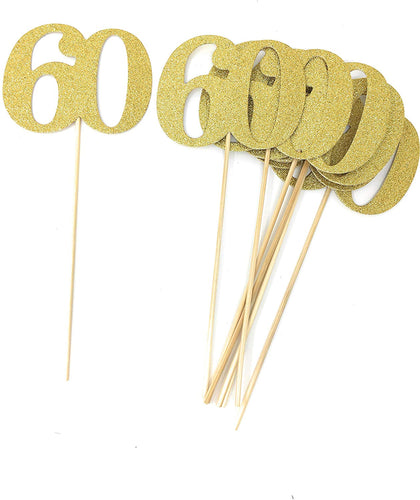 Gold Set of 8 Number 60 Centerpiece Sticks for Anniversary Reunion 60th Birthday