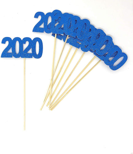 Blue 8 pack of Double Sided Glitter 2020 Centerpiece Sticks in Various Colors for DIY Graduation Centerpiece and Grad Party Decor