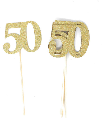 Gold Number 50 Double Sided Centerpiece Sticks Set of 8 Real Glitter