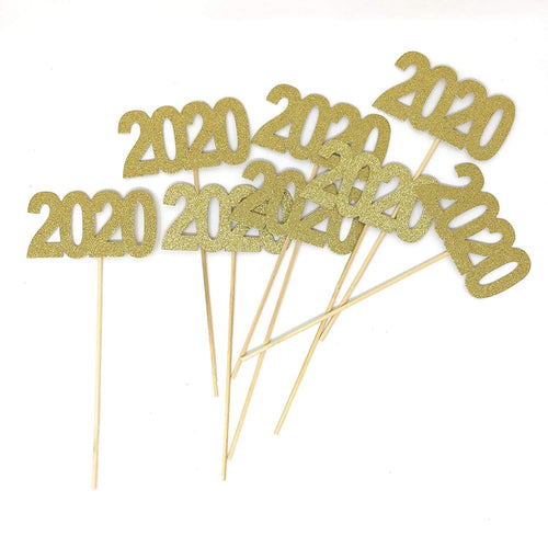 Gold 8 pack of Double Sided Glitter 2020 Centerpiece Sticks in Various Colors for DIY Graduation Centerpiece and Grad Party Decor
