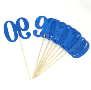 Blue Number 90 Double Sided Centerpiece Sticks Set of 8 Real Glitter