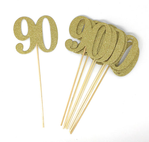 Gold Number 90 Double Sided Centerpiece Sticks Set of 8 Real Glitter