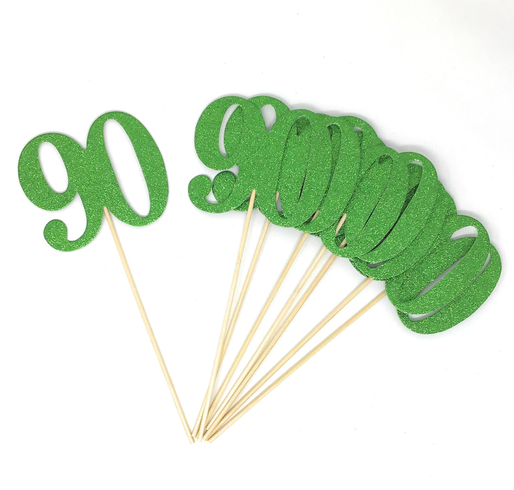Green Number 90 Double Sided Centerpiece Sticks Set of 8 Real Glitter
