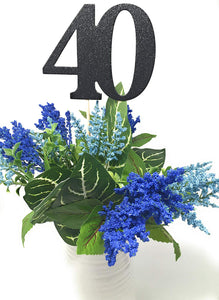 Gold Set of 8 Number 40 Centerpiece Sticks for Fortieth Anniversary Reunion 40th Birthday