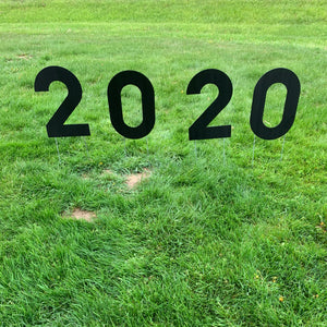 Black 2020 Lawn Letters Graduation Year Numbers Yard Sign Custom School Colors Available-Stakes Included